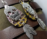 Iridescent and Embossed Real Leather Teardrop Shaped Earrings with a Large Skull and Feather Charms