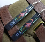 Hand Painted Flamingo on Black Real Leather Strip Earrings