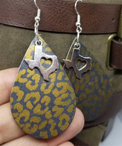 Bronze Leopard Print Teardrop Shaped Leather Earrings with a Texas Charm Overlay