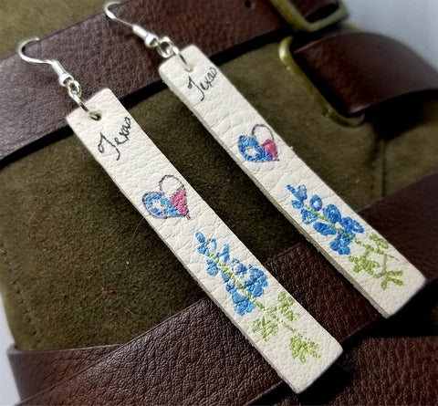 Texas Themed Hand Drawn on Off White Real Leather Strip Earrings