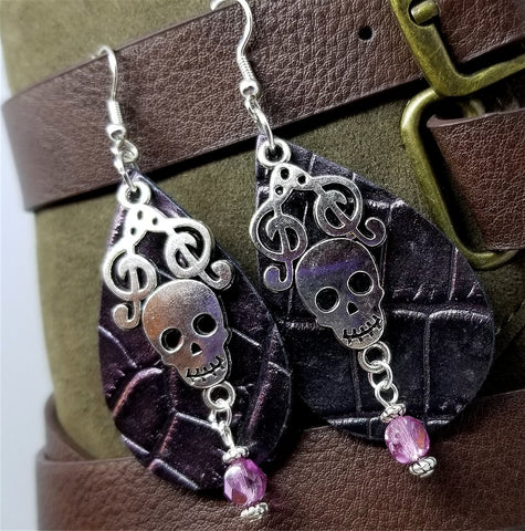 Purple Iridescent Embossed Real Leather Teardrop Shaped Earrings with a Skull Charm and Glass Bead Overlay