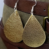 Metallic Gold Finished Tear Drop Shaped Real Leather Earrings
