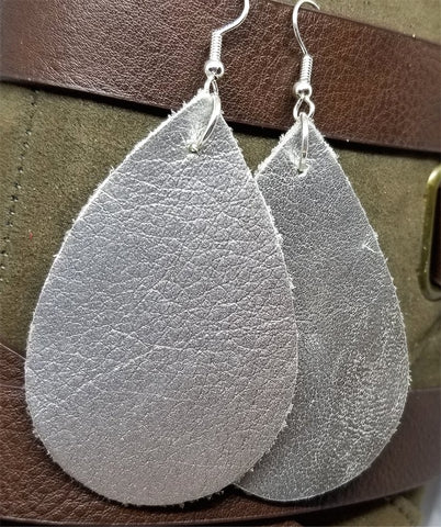 Metallic Silver Tear Drop Shaped Real Leather Earrings