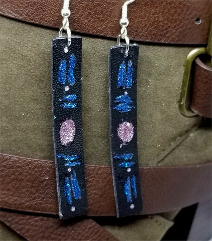 Hand Painted Patterned Glitter Themed on Black Real Leather Strip Earrings