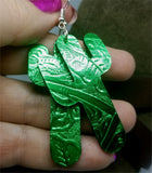 Green Metallic Cactus Shaped Real Leather Earrings