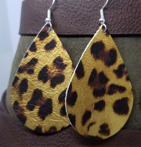 Metallic Leopard Print Teardrop Shaped Leather Earrings