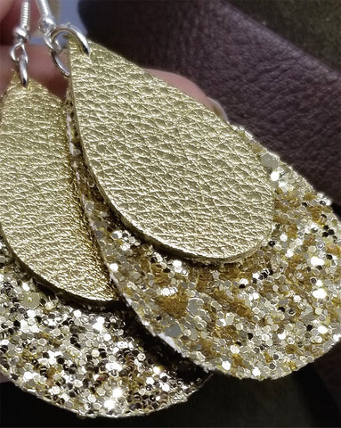 Chunky Gold Glitter Very Sparkly Double Sided FAUX Leather Teardrops with Metallic Gold Leather Teardrop Overlay Earrings