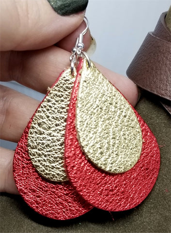 Metallic Red with Metallic Gold Overlay Tear Drop Shaped Real Leather Earrings