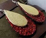 Chunky Red Glitter Very Sparkly Double Sided FAUX Leather Teardrops with Metallic Gold Leather Teardrop Overlay Earrings