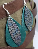 Layered Green Teardrop Leather Earrings with Mermaid Scale Patterned Leather Overlay