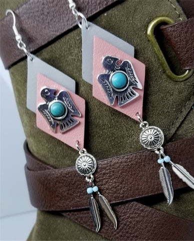 Southwestern Themed Pink and Gray Diamond Real Leather Earrings