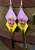 Sugar Skull Purple and Yellow Diamond Real Leather Earrings