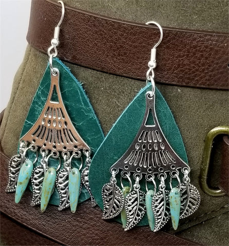 Green Teardrop Real Leather Earrings with Picasso Glass Bead and Leaf Charm Dangle Overlay