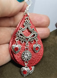 Metallic Red Real Leather Earrings with Silver Chandelier with Crystal Charm Dangles