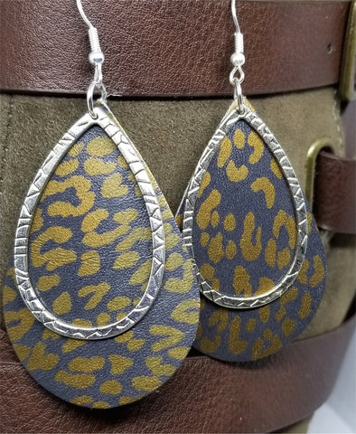 Bronze Leopard Print Teardrop Shaped Leather Earrings with a Silver Charm Overlay