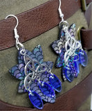 Mermaid Scale Pattern Real Leather Earrings with Silver Triquetra Chandelier and Blue Glass Bead Dangles