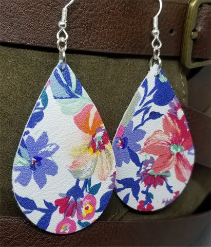Colorful Flowered Tear Drop Shaped Real Leather Earrings