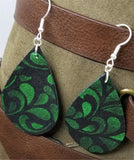 Black Suede with Green Glittering Metallic Leather Tear Drop Earrings