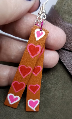 Hand Painted Hearts on Brown Real Leather Strip Earrings