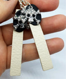 Off White and Black Layered Leather Earrings with Crystal Skull and Crossbone Charms