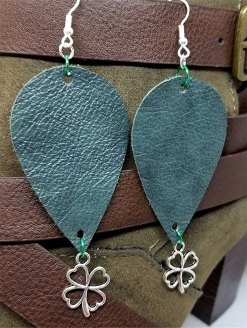 Dark Green Teardrop Shaped Leather Earrings with a Shamrock Charm Dangles