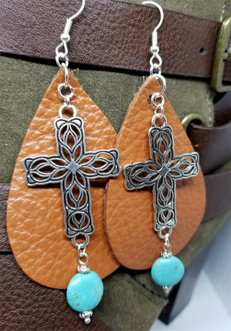 Brown Real Leather Earrings with Silver Cross and Magnesite Dangles