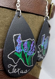 Hand Painted Texas Theme on Black Real Leather Teardrop Earrings