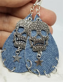 Denim Finish Tear Drop Shaped Real Leather Earrings with Skull and Star Charms