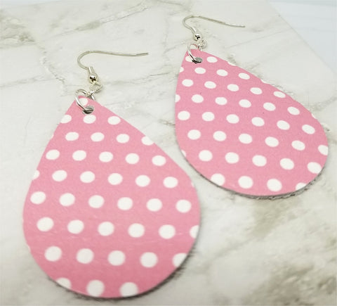 Pink with White Polka Dots Teardrop Shaped Leather Earrings