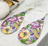 Colorful Vines and Flower Tear Drop Shaped Real Leather Earrings