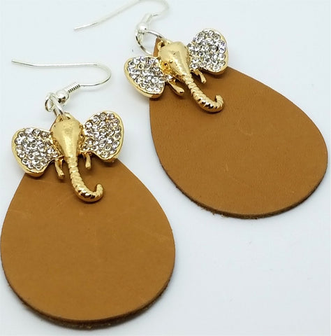 Brown Teardrop Leather Earrings with Crystal Elephant Head Charms