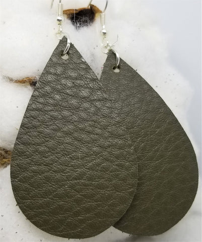 Olive Drab Teardrop Shaped Real Leather Earrings