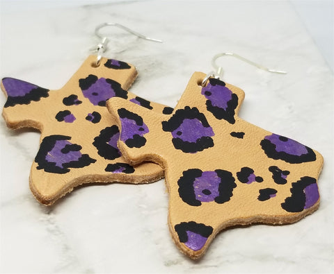 Texas Shaped Hand Painted Purple and Black Leopard Print Real Leather Earrings