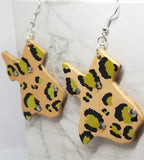 Texas Shaped Hand Painted Gold and Black Leopard Print Real Leather Earrings with Rhinestone Accents