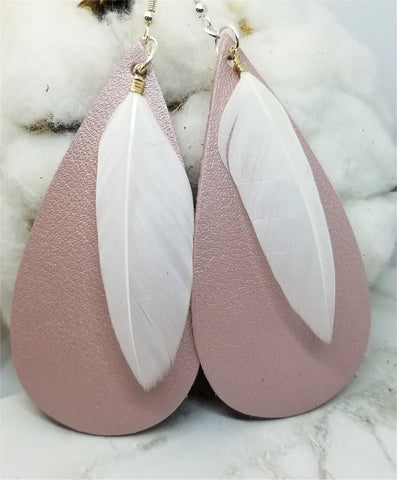 Shimmering Pink Elongated Teardrop Shaped Leather Earrings with White Feather Overlay