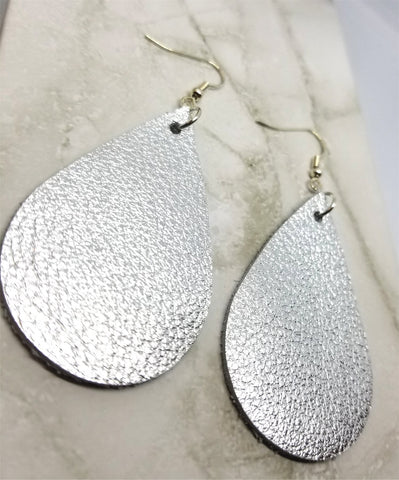 Metallic Silver Teardrop Shaped Real Leather Earrings