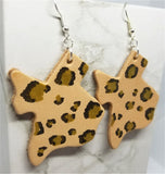 Texas Shaped Hand Painted Gold and Black Leopard Print Real Leather Earrings