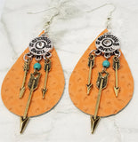 Real Leather Tear Drop Earrings with Arrows Dangling from a Shotgun Shell Charm