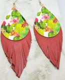 Cactus Faux Leather with Fringed Real Leather Earrings