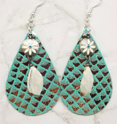 Turquoise Colored Tear Drop Shaped Real Leather Earrings with Metallic Gold Diamond Shapes and Flower Charm with Feather Overlays