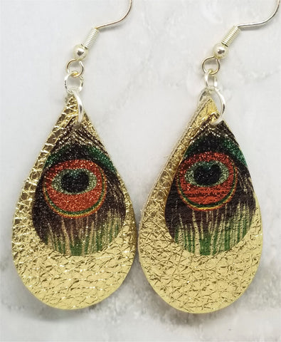 Metallic Gold Tear Drop Shaped Real Leather Earrings with Metal Peacock Feather Charm Overlay