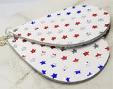 Red, White and Silver Foil Stars on White Teardrop Shaped REAL Leather Earrings