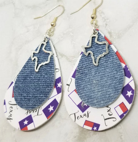 Texas Faux Leather Earrings with a Denim Finish Real Leather Overlay and Texas Charm