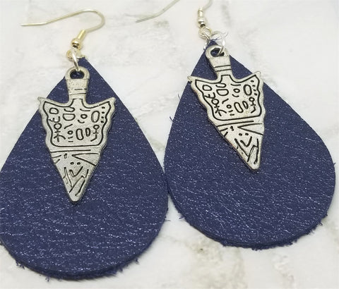 Shimmering Blue Teardrop Shaped Real Leather Earrings with Arrowhead Charm Overlay