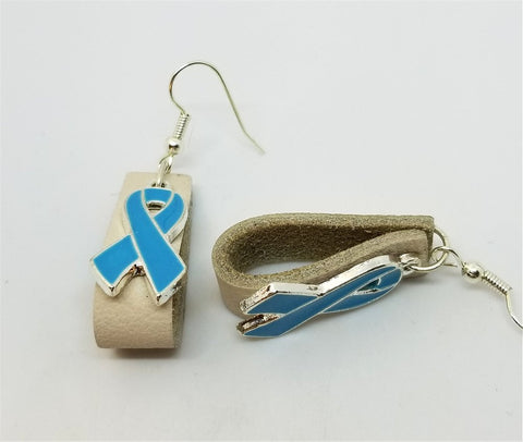 Off White Leather Loops Earrings with Light Blue Ribbon Charms