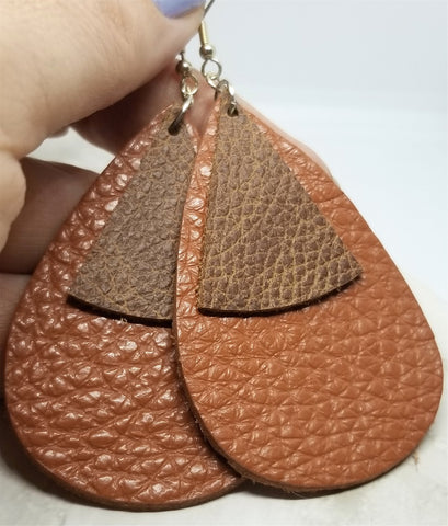 Large Brown Teardrop Shape with Rounded Triangle Overlay Real Leather Earrings