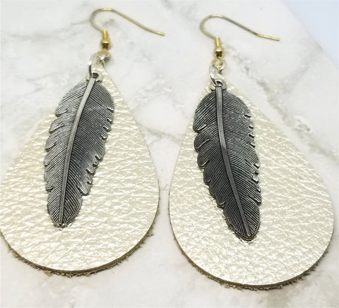 Metallic Platinum Teardrop Shaped Leather Earrings with Silver Feather Charm Overlay