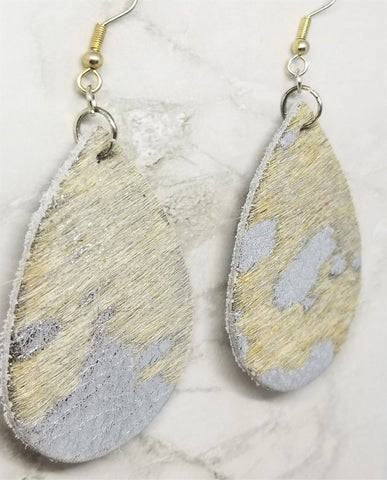 Metallic Silver with White Hair on Hide Leather Tear Drop Earrings