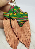 Embroidered Texas Patches with Copper Colored Fringed Real Leather Earrings