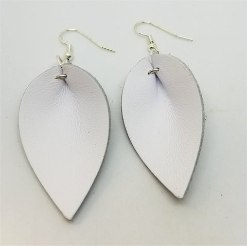 White Real Leather Leaf Earrings